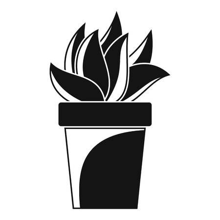 Cactus plant pot icon, simple style