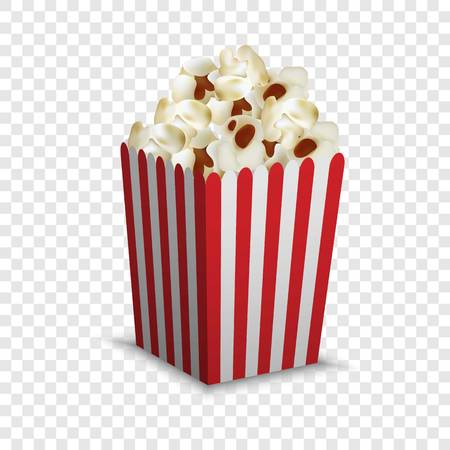 Stripped popcorn box mockup, realistic style