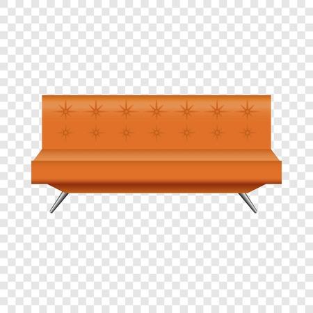 Orange leather sofa mockup, realistic style Stock Photo