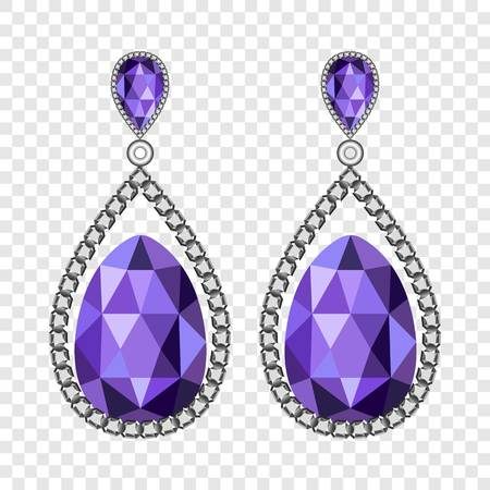 Amethyst earrings mockup, realistic style Stock Photo
