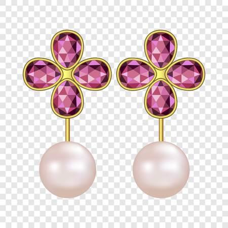 Pearl ruby earrings mockup, realistic style