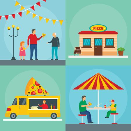 Pizza festival food party banner concept set. Flat illustration of 4 pizza festival food party banner concepts for web