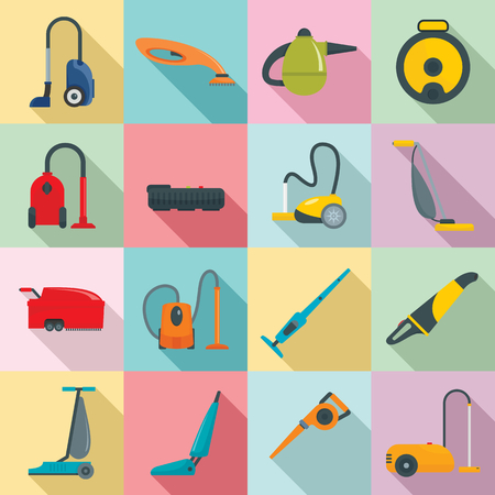 Vacuum cleaner washing appliance icons set. Flat illustration of 16 vacuum cleaner washing appliance icons for web Stock Photo