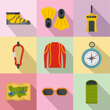 Hike way icons set. Flat set of 9 hike way icons for web isolated on colorful background Stockfoto