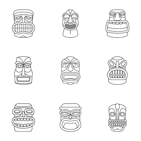 African populace icons set. Outline set of 9 african populace icons for web isolated on white background