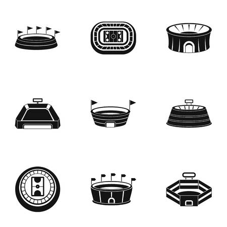 Main stadium icons set. Simple set of 9 main stadium icons for web isolated on white background