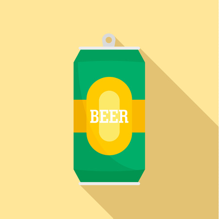 Can of fresh beer icon. Flat illustration of can of fresh beer icon for web design Stock Photo