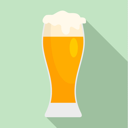 Glass of pub beer icon. Flat illustration of glass of pub beer icon for web design Stock Photo