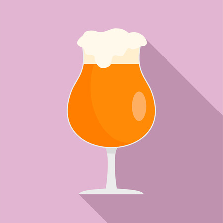 Round glass of beer icon. Flat illustration of round glass of beer icon for web design