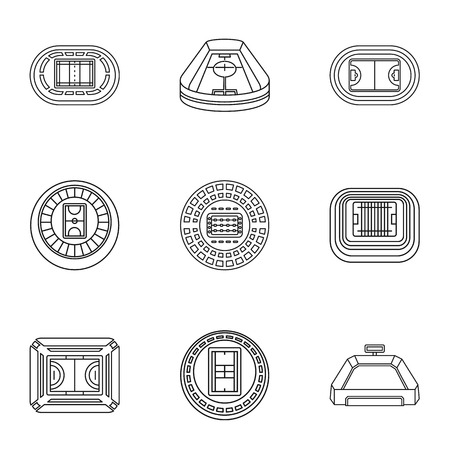 Stadia icons set. Outline set of 9 stadia icons for web isolated on white background
