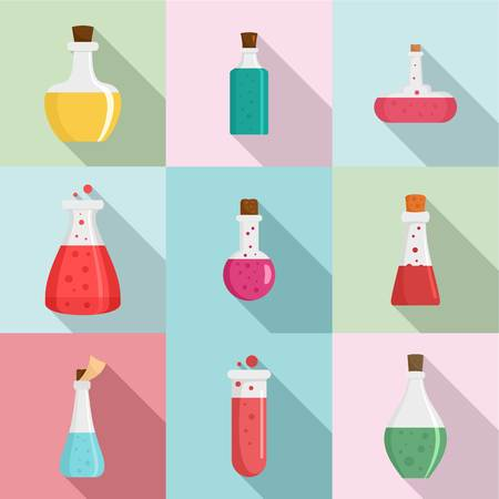 Chemical flask icons set. Flat set of 9 chemical flask icons for web isolated on colorful background Stock Photo
