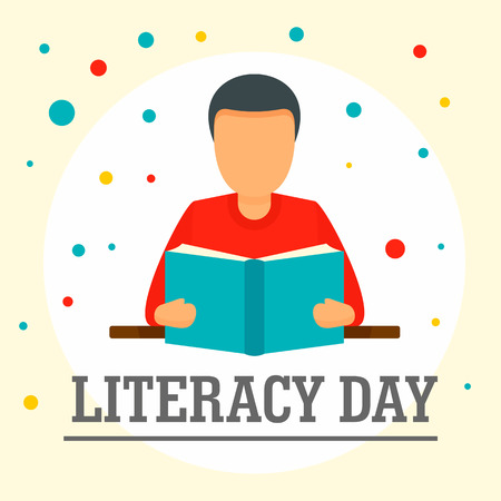 Man with book literacy day background. Flat illustration of man with book literacy day background for web design
