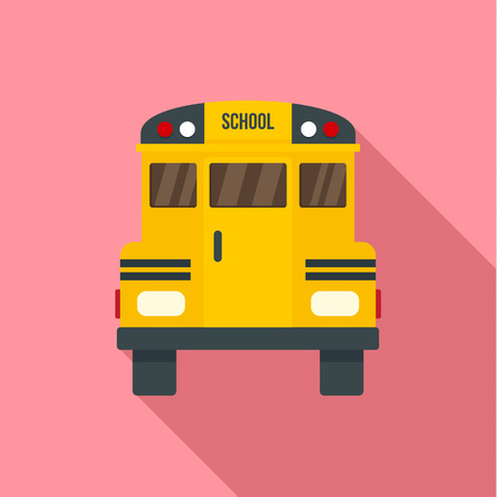 Back of old school bus icon. Flat illustration of back of old school bus icon for web design Foto de archivo - 107253346