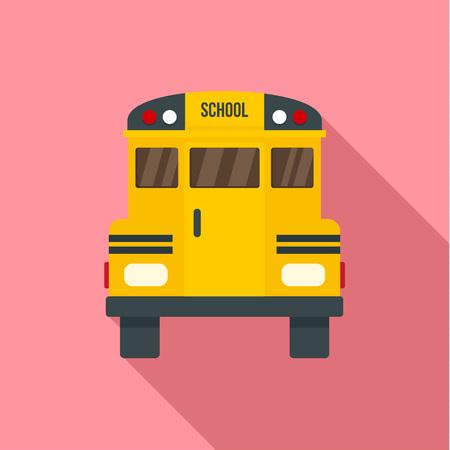 Back of old school bus icon. Flat illustration of back of old school bus icon for web design