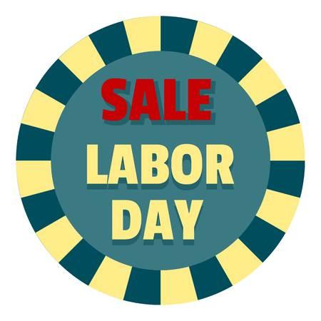 Labor day sale logo icon. Flat illustration of labor day sale logo icon for web design isolated on white background Stock Photo