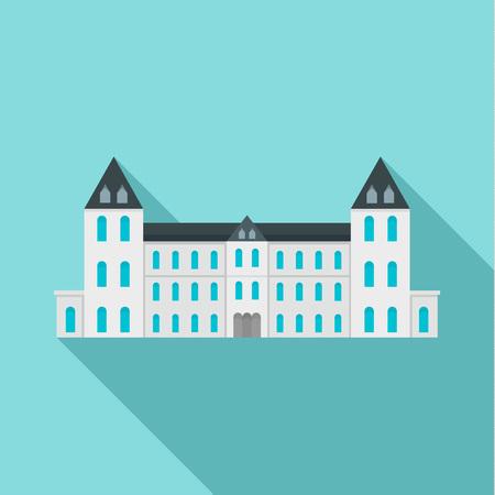 White royal castle city icon. Flat illustration of white royal castle city icon for web design