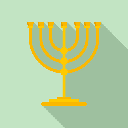 Gold stand for candle icon. Flat illustration of gold stand for candle icon for web design