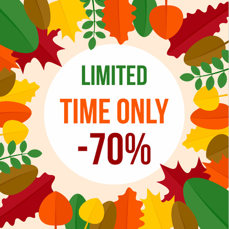 Promotion autumn limited time sale background. Flat illustration of promotion autumn limited time sale background for web design