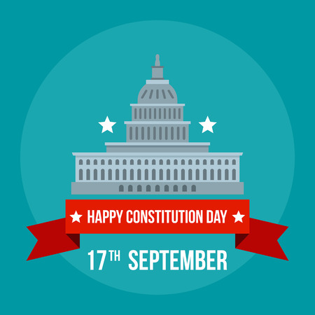 White house constitution day background. Flat illustration of white house constitution day background for web design