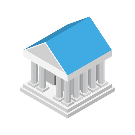 Ancient white bank building icon. Isometric of ancient white bank building icon for web design isolated on white background