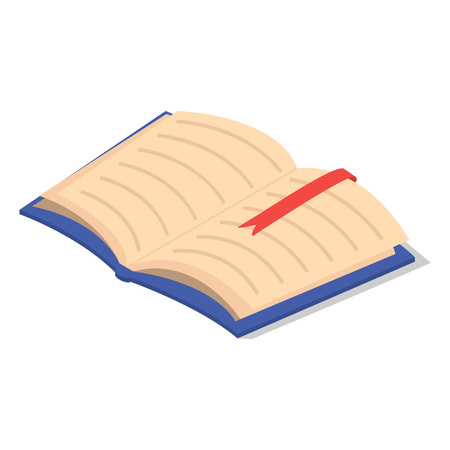Open first school book icon. Isometric of open first school book icon for web design isolated on white background