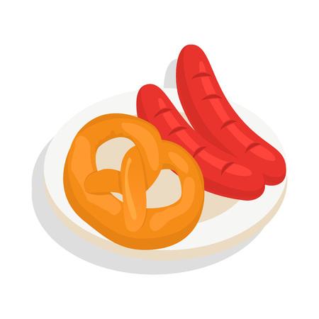Pretzel bakery and sausage icon. Isometric of pretzel bakery and sausage icon for web design isolated on white background