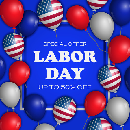 Special offer labor day concept background. Realistic illustration of special offer labor day concept background for web design Stock Photo