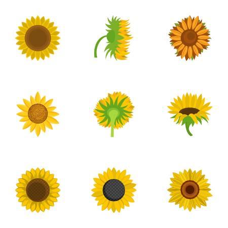 Helianthus icons set. Cartoon set of 9 helianthus icons for web isolated on white background Stock Photo