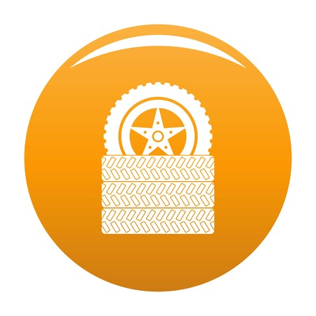 Tire leap icon. Simple illustration of tire leap icon for any design orange Stock Photo
