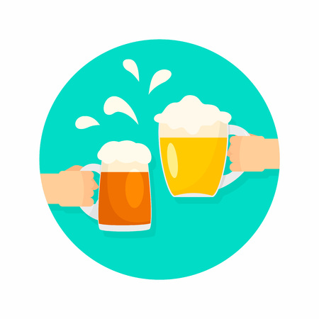 Two hands of beer glasses background. Flat illustration of two hands of beer glasses vector background for web design