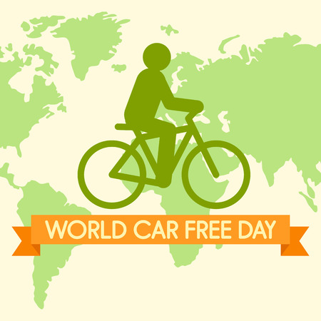 World car free day with bicycle background. Flat illustration of world car free day with bicycle vector background for web design  イラスト・ベクター素材