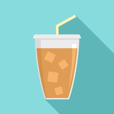 Ice cappuccino icon. Flat illustration of ice cappuccino vector icon for web design