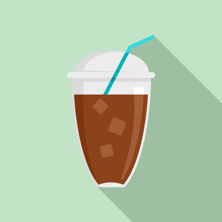 Ice coffee icon. Flat illustration of ice coffee vector icon for web design