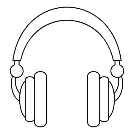 Wired headphones icon. Outline illustration of wired headphones vector icon for web design isolated on white background