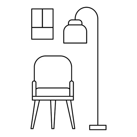 Chair and room lamp icon. Outline illustration of chair and room lamp vector icon for web design isolated on white background