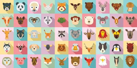 Zestaw ikon zwierząt. Płaski zestaw ikon wektorowych zwierząt do projektowania stron internetowych