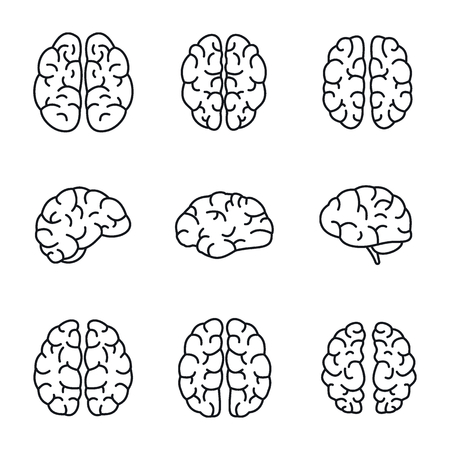 Brain mind icon set. Outline set of brain mind vector icons for web design isolated on white background Illusztráció