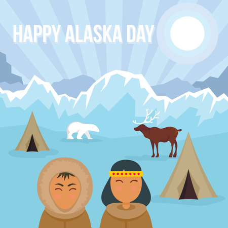 Happy Alaska day banner. Flat illustration of happy Alaska day vector banner for web design Illustration