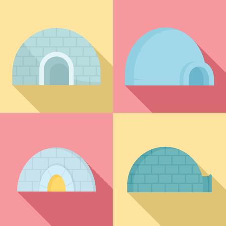 Igloo icon set. Flat set of igloo vector icons for web design Vetores