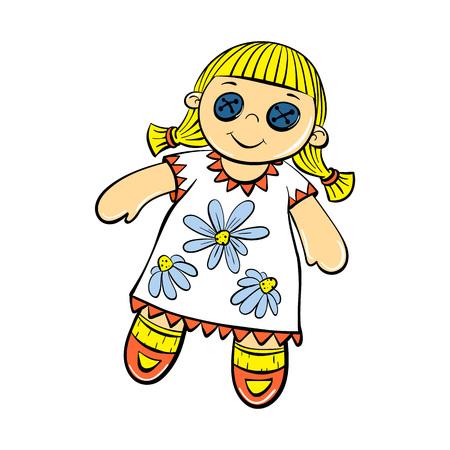 Icono de juguete muñeca linda. Caricatura de lindo muñeco de juguete icono vectoriales para diseño web aislado sobre fondo blanco. Ilustración de vector
