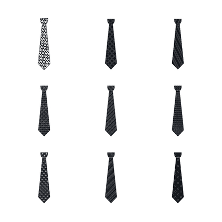 Elegant tie icon set. Simple set of elegant tie vector icons for web design isolated on white background Vettoriali
