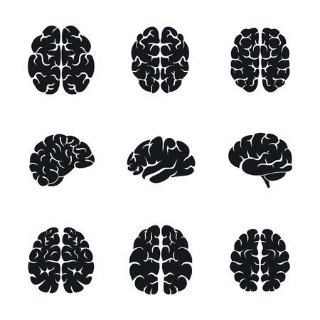 Brain thinking icon set. Simple set of brain thinking vector icons for web design on white background Illustration