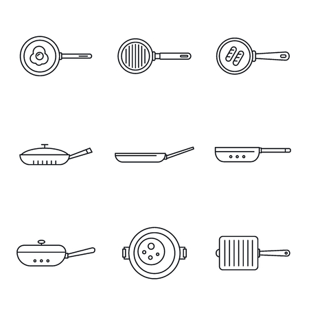 Griddle pan icon set. Outline set of griddle pan vector icons for web design isolated on white background