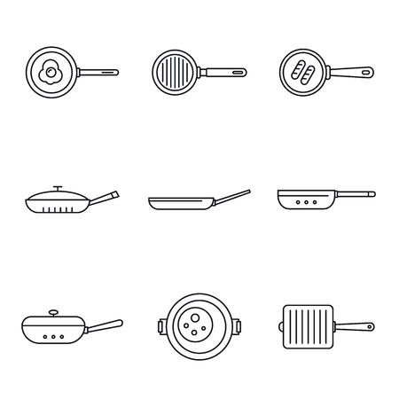 Insieme dell'icona di piastra padella. Set di contorno delle icone vettoriali della padella della piastra per il web design isolato su sfondo bianco Vettoriali