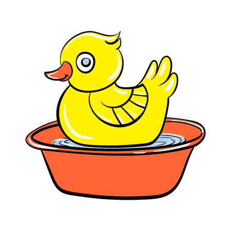 Yellow duck toy icon. Cartoon of yellow duck toy vector icon for web design isolated on white background