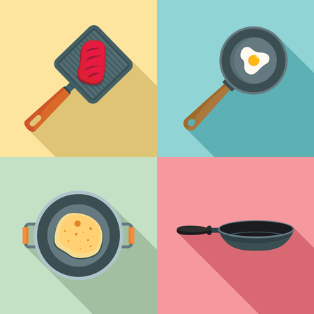 Hot griddle icon set. Flat set of hot griddle vector icons for web design