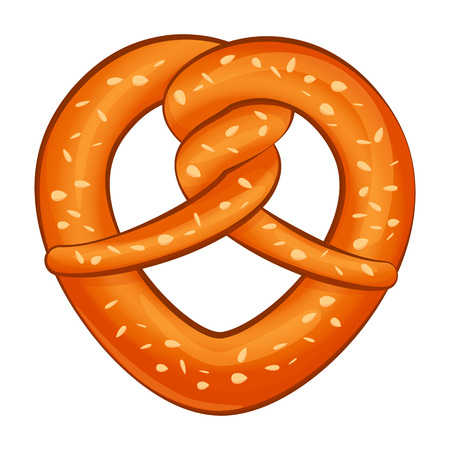 Salt pretzel icon. Cartoon of salt pretzel vector icon for web design isolated on white background Çizim
