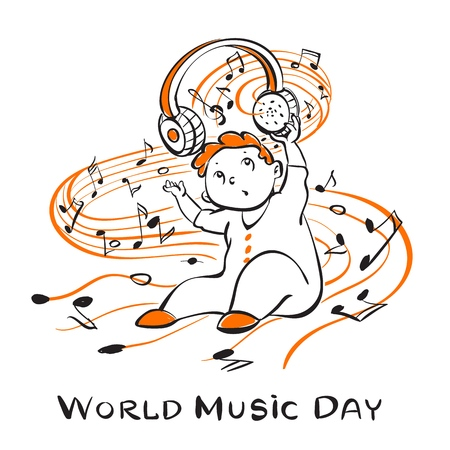 World music day concept background. Hand drawn illustration of world music day vector concept background for web design