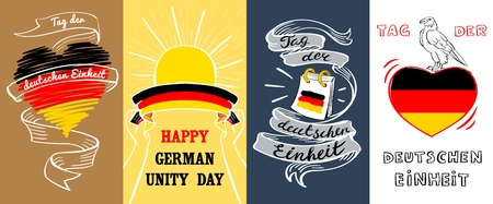 Deutschen einheit banner set. Hand drawn illustration of deutschen einheit vector banner set for web design
