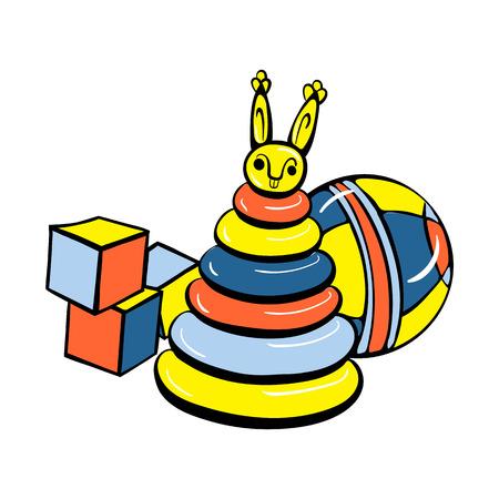 Cube toys icon, cartoon style Illustration